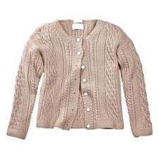 Peregrine Aran-cardigan voor dames - Het stijlvolle antwoord op het welbekende kabelmotief: traditioneel Aran-breisel, verwerkt in Engeland.