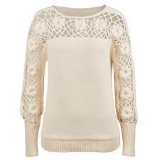 Eribé trui met bloemmotief - Met de hand gehaakt in levendige en expressieve driedimensionale look.