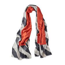 Abstract keerbaar sjaal - Vandaag een klassieker in zwart en grijs. Morgen een modieuze blikvanger met een steenrood accent.