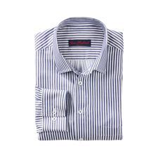 Overhemd met blokstrepen en zijde - Heel aangenaam op de huid door de batiststof met 33% zijde.