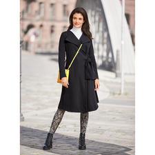 [schi]ess jerseymantel - Chic zwart. Zachte jersey. Elegante couturestijl. Van [schi]ess.