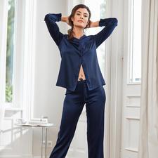 Chiara Fiorini zijden pyjama, nachtblauw - Luxe made in Italy – voor een verrassend aantrekkelijke prijs. Van Chiara Fiorini.