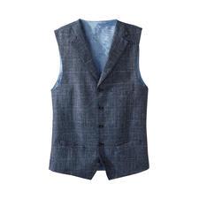 Carl Gross gilet - Dit stijlvolle, zomers lichte gilet van linnen en scheerwol is het perfecte alternatief.