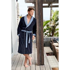Boss badjas van badstof - Modieuze stijl in plaats van een sportieve casual look: nette badjas van Boss.