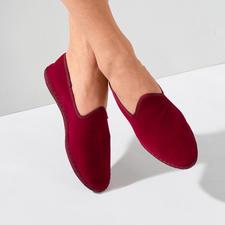Fluwelen-damesslipper - De met de hand gestikte fluwelen slipper made in Italy: elegant. Gemakkelijk. En toch zo moeilijk te vinden.