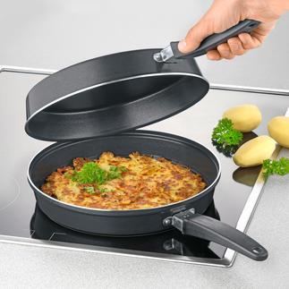 Dubbele pan Omeletten en pannenkoeken – eenvoudig, veilig en zonder te knoeien bakken.