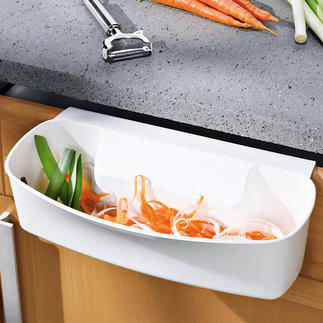 Afvalbakje, op te hangen Bespaart ruimte op de snijplank en het aanrechtblad. Houdt de keuken netjes.
