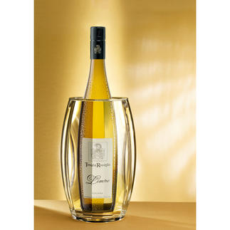 Gefacetteerde, dubbelwandige koeler Wijn, champagne, water … Uw voorgekoelde dranken blijven tot 3 uur op temperatuur.