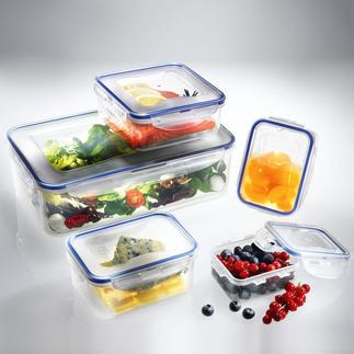 'Lock & Lock'-vershouddoos, set van 5 of - Boroseal, set van 4 100% lucht-, water- en aromadicht. Uw etenswaren kunnen dus lekvrij worden vervoerd.
