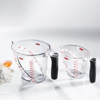OXO-maatbeker Van boven aflezen is preciezer en veel eenvoudiger. Aflezen tijdens het vullen.