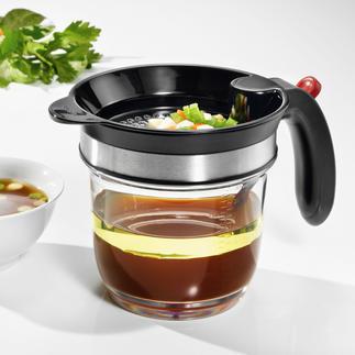 Easy Drip-vetscheider Met bodemventiel in plaats van schenktuit. Ook ideaal voor presenteren en portioneren.