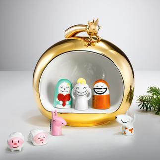 Alessi 'kerststal' Geestig, lieflijk en met vrolijke kleuren.Een ware blinkvanger van kostbaar,met de hand beschilderd porselein.