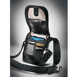 Safety-schoudertas Meteen 3 tegenvallers voor dieven. Niet door te snijden. RFID-bescherming. Met alarm.