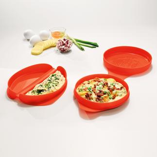 Magnetronomeletvorm of -tortillavorm In 2 minuten klaar. Zonder fornuis en pan. Perfect voor de moderne, vetarme keuken.