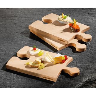 Puzzleboard Een blikvanger op tafel en geniaal als vervanging voor borden tijdens een feest. Van massief beukenhout.