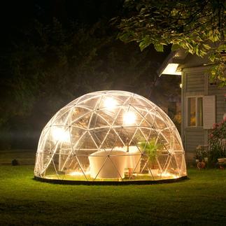 Tuiniglo, basisset met winterfolie Windvrije en weerbestendige relaxoase. Mobiel tuinhuis en kas in één. Winterkwartier voor planten.