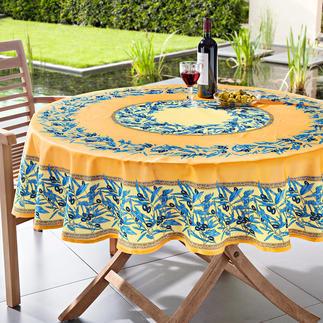 Afwasbaar olijventafelkleed Typisch Provence: tafelkleed met olijvenmotief van 100% katoen. Maar 100% ongevoelig.