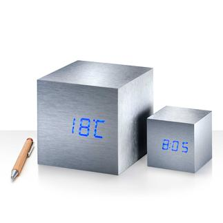 Maxi of Mini Cube Knip even met de vingers – en tijd, datum en temperatuur verschijnen als bij toverslag.