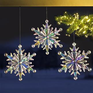 Regenboog-ijskristal, set van 3 Changerende blikvanger voor uw kerstversiering. Schitterende reflecties door lichtinval.