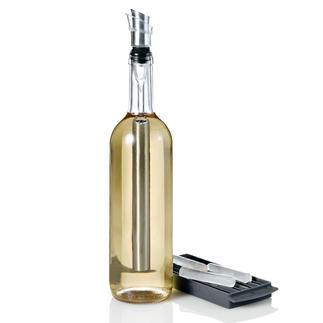4-in-1-Icepour koelstaaf Edelstalen koelstaaf, schenkhulp, beluchter en flessenstop tegelijk. Houdt uw wijn perfect koel.