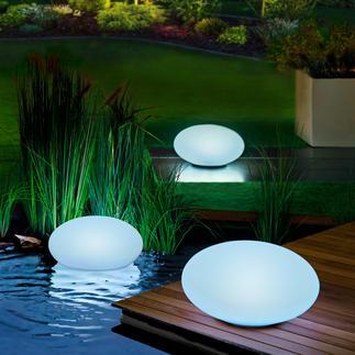 Solarlichtsteen Deze lichtsteen voor in de tuin schijnt in uw favoriete kleur of in wisselende kleuren.