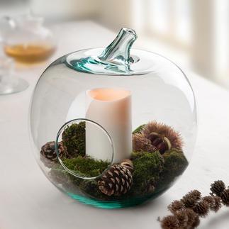 Decoratieve glazen appel Serveerschaal, opbergplek, deco-object, windlicht, ...