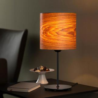 Design-tafellamp van echt hout Unieke tafellamp met exclusief olijfessen-fineer.