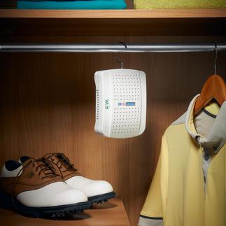Compacte luchtontvochtiger met indicator Beschermt kleding, schoenen, sportuitrusting etc. tegen vocht en schimmel.