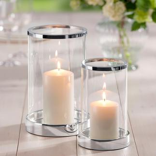 Verzilverd windlicht incl. kaars Schitterend kristalglas. Klassieke cilindervorm. Sokkel en rand chic verzilverd.