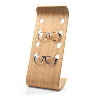 Brillenstandaard Chic gefineerd gebogen hout in een moderne eikenkleur, voor het veilig opbergen van 4 favoriete exemplaren.