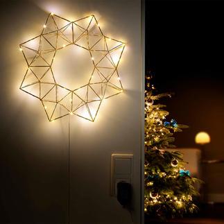 Verlichte piramidenster Feestverlichting – maar dan subtiel en filigraan: de led-ster in moderne, geometrische vorm.