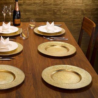 Feestelijk glazen onderbord, set van 6 Dek een feestelijke tafel in een handomdraai. Met een verfijnde goud- en zilverglans onder glas.