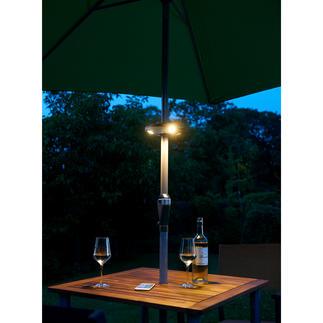 Bluetooth-parasollamp Geniet snoerloos van licht en uw favoriete muziek onder de parasol.