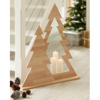 Duo-dennenboom Moderne kerstversiering die allesbehalve kitsch is. Eenvoudig design. Onbehandeld elzenhout.