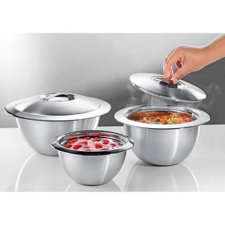 Edelstalen thermo-kommen met deksel Dubbelwandig edelstaal houdt uw gerechten langer warm of koud. Verbazend voordelig.