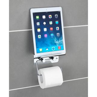 Toiletrolhouder 'Multimedia' Met antislip-plateau voor uw smartphone of tablet. Zelfklevend, dus boren is overbodig.