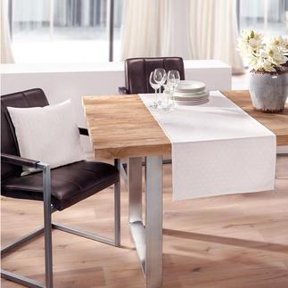 Asanoha-tafellinnen Een tafellaken in de stijl van een kimono. Onderhoudsarm dankzij vezeldiepe vlekbescherming. Ingeweven dessin.
