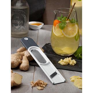 Microplane® gemberrasp 3-in-1 De 3-in-1-tool: schilt, raspt en schaaft gember in een handomdraai.