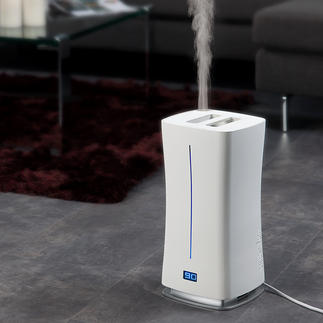Design-luchtbevochtiger Warm & Cool Met externe vochtigheidssensor en innovatieve warme verneveling. Geen ziektekiemen, geen kalkafzetting.