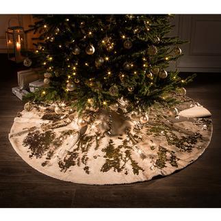 Kerstboomkleed met pailletten In trendy metallic-stijl: feestelijk gefonkel onder de kerstboom.
