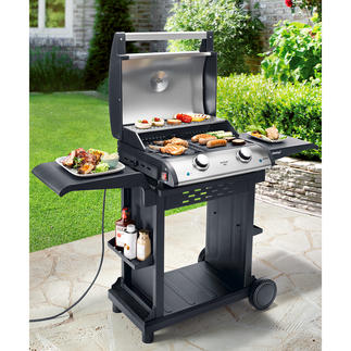 Elektrische tafelbarbecue met 2 zones Reusachtig grilloppervlak van 1.500 cm² met 2 warmtezones. Afzonderlijk traploos instelbaar tot 300 °C.