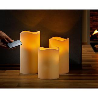 Led-kaarsen van echte was, 3-delige set met afstandsbediening Decoratieve 3-delige set met natuurlijk geflakker.