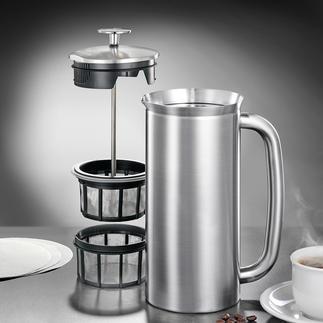 Espro®-cafetière of -thermobeker Geniaal: de kan met dubbel microfiltersysteem en isoleerfunctie.