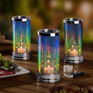 Regenboog-windlicht Het gepatenteerde glazen windlicht met fascinerend elegant lichtspel.