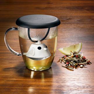 Theeglas met thee-ei ʻBirdie' Zorgt voor vrolijkheid en een heerlijk kopje verse thee.