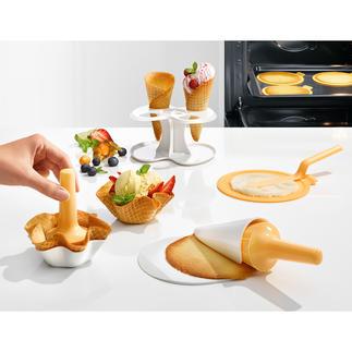 IJswafel-bak- en vormset, 10-delig Zelfgemaakte ijshoorntjes en -bakjes. Een wafelijzer is niet nodig.