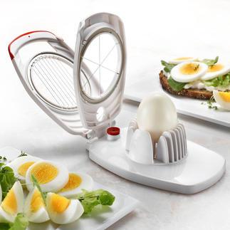 Zyliss® Duo-eiersnijder Eenmaal ingeklapt verdelen de snijdraden uw hardgekookte ei in 8 fijne plakjes voor bijvoorbeeld op de boterham.