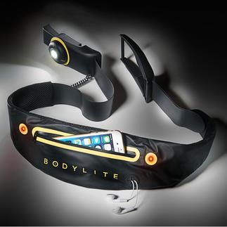Bodylite riem met led-verlichting De elastische Bodylite-led-riem zit stevig en comfortabel om uw lichaam.