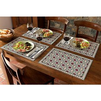 Moorse placemat of tafelloper Blijvend mooi – met één veeg weer schoon. Voor binnen en buiten..