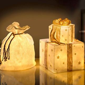 Lamp zak of Lamp cadeaustapel Deze feestelijke lichtobjecten doen zelfs de kerstman versteld staan.